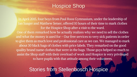 Volunteers from Paul Roos Gymnasium - Stellenbosch Hospice